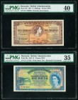 Bermuda Bermuda Government 5 Shillings; 1 Pound 1.5.1957; 20.10.1952 Pick 18b; 20a PMG Extremely Fine 40; Choice Very Fine 35.   HID09801242017  © 202...
