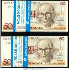 Brazil Banco Central Do Brasil 50 Cruzeiros on 50 Cruzados Novos ND (1990) Pick 223 Two Packs of 100 Notes Crisp Uncirculated.   HID09801242017  © 202...