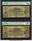 Canada Moncton, NB- Westmorland Bank $1 1.8.1861 Ch.# 800-12-02a Two Examples PMG Graded Fine 12; Very Good 10. An ink stamp is noted on one example. ...