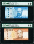 Chile Banco Centrale de Chile 10,000; 20,000 Pesos 2011 Pick 164b; 165b Two Examples PMG Choice Uncirculated 64 EPQ; Gem Uncirculated 65 EPQ.   HID098...