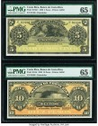 Costa Rica Banco Central de Costa Rica 5; 10 Pesos 1.4.1899 Pick S163r1; S164r Two Remainders PMG Gem Uncirculated 65 EPQ.   HID09801242017  © 2020 He...