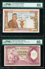 Indonesia Bank Indonesia 5000 Rupiah 1958 Pick 64 PMG Choice Uncirculated 63; Lao People's Democratic Republic Banque Nationale du Laos 100 Kip ND (19...