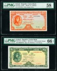 Ireland Central Bank of Ireland 10 Shillings; 1 Pound 3.1.1962; 21.4.1975 Pick 63a; 64c Two Examples PMG Choice About Unc 58; Gem Uncirculated 66 EPQ....