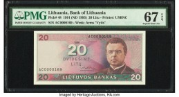 Lithuania Bank of Lithuania 20 Litu 1991 (ND 1993) Pick 48 PMG Superb Gem Unc 67 EPQ. Serial number 0000169.  HID09801242017  © 2020 Heritage Auctions...