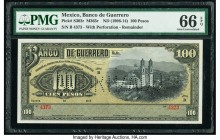 Mexico Banco de Guerrero 100 Pesos ND (1906-14) Pick S302r M365r Remainder with Perforation PMG Gem Uncirculated 66 EPQ.   HID09801242017  © 2020 Heri...