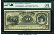 Mexico Banco de Sonora 50 Pesos ND (1899-1911) Pick S422r M510r Remainder PMG Choice Uncirculated 64 EPQ.   HID09801242017  © 2020 Heritage Auctions |...