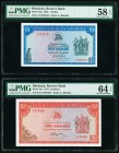 Rhodesia Reserve Bank of Rhodesia 1; 2 Dollars 17.2.1970; 5.8.1977 Pick 30a; 35c Two Examples PMG Choice About Unc 58 EPQ; Choice Uncirculated 64 EPQ....