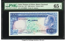 Saint Thomas and Prince Banco Nacional 1000 Dobras 12.7.1977 Pick 55a PMG Gem Uncirculated 65 EPQ.   HID09801242017  © 2020 Heritage Auctions | All Ri...