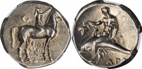 ITALY. Calabria. AR Nomos (7.84 gms), ca. 280 B.C. NGC AU, Strike: 4/5 Surface: 4/5.
