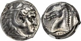 SICILY. Siculo-Punic. AR Tetradrachm (17.30 gms), ca. 300-289 B.C. NGC AU, Strike: 4/5 Surface: 4/5.