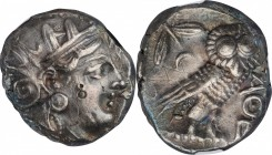ATTICA. Athens. AR Tetradrachm (17.06 gms), ca. 353-294 B.C. NGC Ch EF, Strike: 4/5 Surface: 2/5. Graffiti, Smoothing, Countermarks.