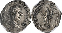MACRINUS, A.D. 217-218. AR Denarius, Rome Mint, A.D. 218. NGC Ch VF.