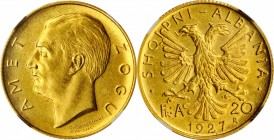 ALBANIA. 20 Franga Ari, 1927-R. Rome Mint. NGC MS-62.