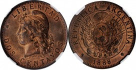 ARGENTINA. 2 Centavos, 1888. NGC MS-64 Red Brown.