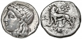 Ionia, Miletos. civic issue. 353-323 B.C.  AR drachm. Lykos, magistrate. From the D. Thomas Collection.