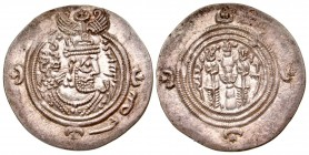 Sasanian Kingdom. Khusru II. A.D. 591-628. AR drachm. GD (Jayy) mint, dated RY 30.