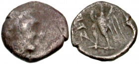 Yehud, Ptolemaic occupation. Ptolemy II Philadelphos. AR quarter obol. Jerusalem, before 261/0 BCE. Extremely Rare.