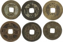 China 1 Cash (750-1250)Lot of 6 Coins