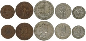 Cyprus 3-100 Mils 1955 First Decimal Coins Lot of 5 Coins