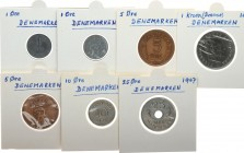 Denmark 1-25 Ore; 1 Krone 1953-1969 Lot of 7 Coins