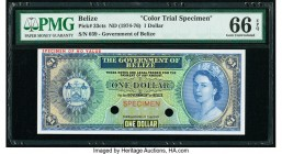 Belize Government of Belize 1 Dollar ND (1974-76) Pick 33cts Color Trial Specimen PMG Gem Uncirculated 66 EPQ. Two POCs.  HID09801242017  © 2020 Herit...