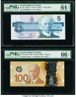 Canada Bank of Canada $5; 100 1986; 2011 BC-56a; BC-73a Two Examples PMG Choice Uncirculated 64 EPQ; Gem Uncirculated 66 EPQ.   HID09801242017  © 2020...