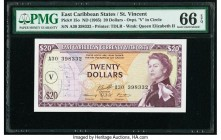 East Caribbean States Currency Authority, St. Vincent 20 Dollars ND (1965) Pick 15o PMG Gem Uncirculated 66 EPQ.   HID09801242017  © 2020 Heritage Auc...