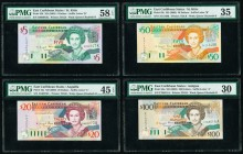 East Caribbean States Central Bank, St. Kitts 5; 20; 50 100 Dollars ND (2003) (4) Pick 42k; 44u; 45k; 46a Four Examples PMG Choice About Unc 58 EPQ; C...