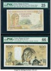 France Banque de France 50; 500 Francs 8.2.1940; 1.2.1990 Pick 85b; 156g Two Examples PMG Very Fine 25; Gem Uncirculated 66 EPQ.   HID09801242017  © 2...