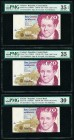 Ireland Central Bank of Ireland 20 Pounds 2.9.1997 (2); 8.4.1998 Pick 77b Three Examples PMG Choice Very Fine 35 EPQ; Choice Very Fine 35; Very Fine 3...
