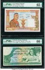 Laos Banque Nationale du Laos 100 Kip ND (1957) Pick 6a PMG Gem Uncirculated 65 EPQ; Cambodia Banque Nationale 1000 Reils ND (1973) Pick 17 Two Consec...