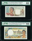 New Caledonia Banque de l'Indochine; Institut d'Emission 20; 500 Francs ND (1954-58); ND (1969-92) Pick 50b; 60a Two Examples PMG Choice Uncirculated ...