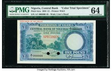 Nigeria Central Bank of Nigeria 1 Pound 15.9.1958 Pick 4cts Color Trial Specimen PMG Choice Uncirculated 64. Previously mounted, two POCs.  HID0980124...
