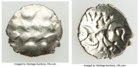 BRITAIN. Corieltauvi Aun Cost. Ca. 5-1 BC. AR half unit (11mm, 0.48 gm). MS. Celticized head of Apollo / AVN, Celticized horse left; T below. Van Arsd...