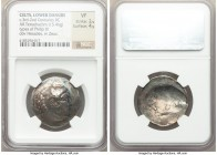 DANUBE REGION. Balkan Tribes. Imitating Philip III Arrhidaeus (323-317 BC). AR tetradrachm (28mm, 15.46 gm). NGC VF 2/5 - 4/5. Celtic imitation of 'Ba...