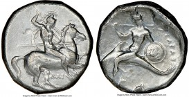 CALABRIA. Tarentum. Ca. 302-281 BC. AR stater or didrachm (20mm, 6h). NGC VF. Dai- and Phi-, magistrates. Warrior on horseback rearing right, spearing...