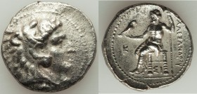 MACEDONIAN KINGDOM. Alexander III the Great (336-323 BC). AR tetradrachm (28mm, 16.79 gm, 6h). XF, porosity. Late lifetime issue of Sidon, dated Civic...