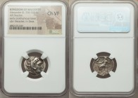 MACEDONIAN KINGDOM. Alexander III the Great (336-323 BC). AR drachm (17mm, 11h). NGC Choice VF. Posthumous issue of 'Colophon', ca. 310-301 BC. Head o...