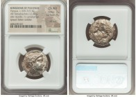 PAEONIAN KINGDOM. Patraus (ca. 335-315 BC). AR tetradrachm (24mm, 12.60 gm, 6h). NGC Choice AU 3/5 - 4/5, die shift. Laureate head of Apollo right, be...