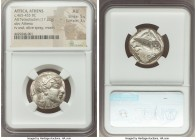 ATTICA. Athens. Ca. 465-455 BC. AR tetradrachm (23mm, 17.22 gm, 8h). NGC AU 5/5 - 3/5. Head of Athena right, wearing crested Attic helmet ornamented w...