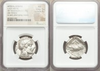 ATTICA. Athens. Ca. 455-440 BC. AR tetradrachm (26mm, 17.18 gm, 2h). NGC AU 5/5 - 4/5. Early transitional issue. Head of Athena right, wearing crested...