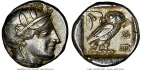 ATTICA. Athens. Ca. 455-440 BC. AR tetradrachm (24mm, 17.20 gm, 8h). NGC AU 5/5 - 4/5. Early transitional issue. Head of Athena right, wearing crested...