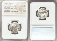 ATTICA. Athens. Ca. 455-440 BC. AR tetradrachm (23mm, 17.18 gm, 8h). NGC Choice XF 5/5 - 5/5. Early transitional issue. Head of Athena right, wearing ...