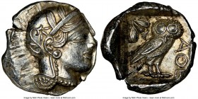 ATTICA. Athens. Ca. 440-404 BC. AR tetradrachm (25mm, 17.22 gm, 7h). NGC MS 4/5 - 4/5. Mid-mass coinage issue. Head of Athena right, wearing crested A...
