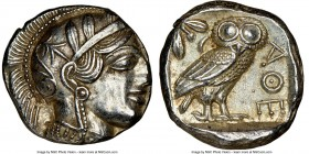 ATTICA. Athens. Ca. 440-404 BC. AR tetradrachm (24mm, 17.20 gm, 4h). NGC Choice AU 4/5 - 4/5. Mid-mass coinage issue. Head of Athena right, wearing cr...