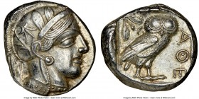 ATTICA. Athens. Ca. 440-404 BC. AR tetradrachm (23mm, 17.18 gm, 4h). NGC AU 5/5 - 4/5. Mid-mass coinage issue. Head of Athena right, wearing crested A...