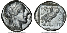 ATTICA. Athens. Ca. 440-404 BC. AR tetradrachm (25mm, 17.21 gm, 3h). NGC AU 5/5 - 4/5. Mid-mass coinage issue. Head of Athena right, wearing crested A...