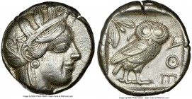 ATTICA. Athens. Ca. 440-404 BC. AR tetradrachm (23mm, 17.17 gm, 10h). NGC Choice XF 5/5 - 4/5. Mid-mass coinage issue. Head of Athena right, wearing c...