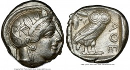 ATTICA. Athens. Ca. 440-404 BC. AR tetradrachm (24mm, 17.18 gm, 10h). NGC Choice XF 4/5 - 4/5. Mid-mass coinage issue. Head of Athena right, wearing c...