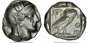 ATTICA. Athens. Ca. 440-404 BC. AR tetradrachm (25mm, 17.16 gm, 8h). NGC Choice XF 4/5 - 4/5, flan flaw. Mid-mass coinage issue. Head of Athena right,...